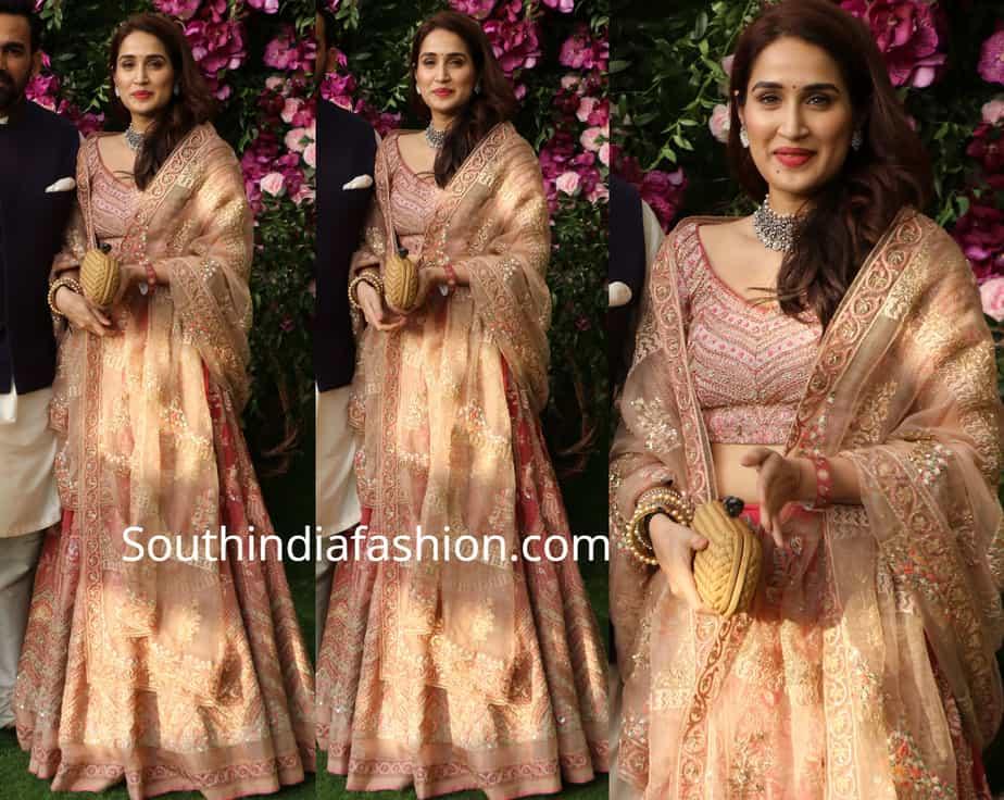 sagarika ghatge lehenga at akash ambani wedding
