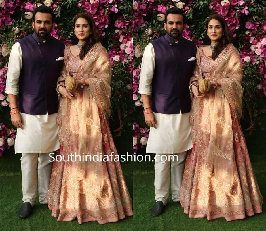 sagarika and zaheer khan at akash ambani wedding
