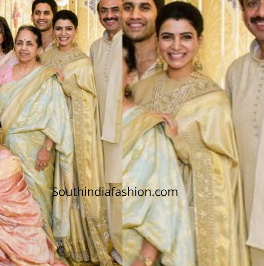 samantha akkineni pattu saree at venkatesh daughter wedding