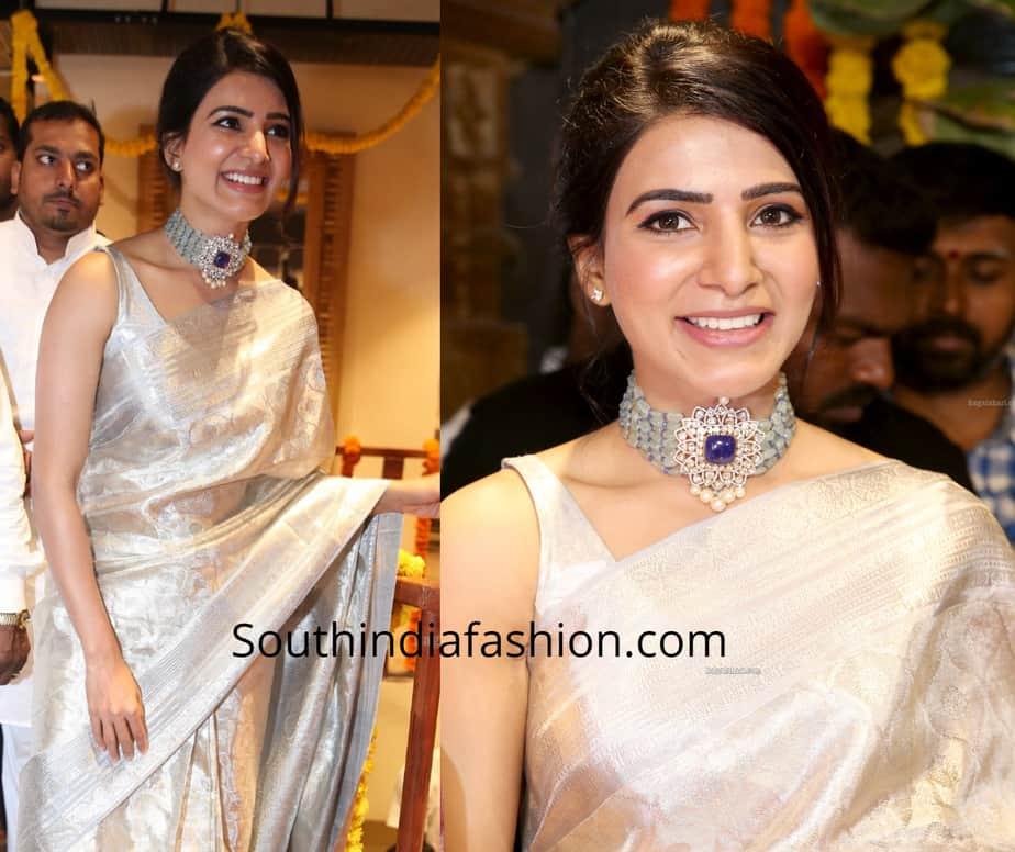 samantha akkineni in silver kanjeevaram silk saree at mugdha store opening