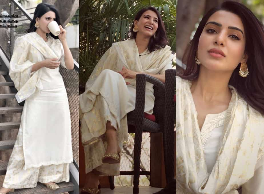 samantha akkineni majili promotions white dress