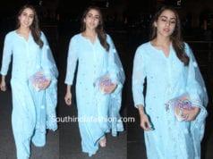 sara ali khan in blue chikankari palazzo suit