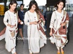 sara ali khan white salwar kameez airport