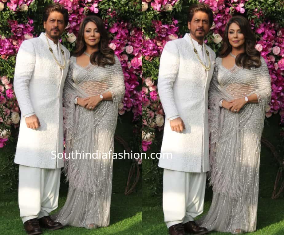 shah rukha and gauri at akash ambani shloka mehta wedding