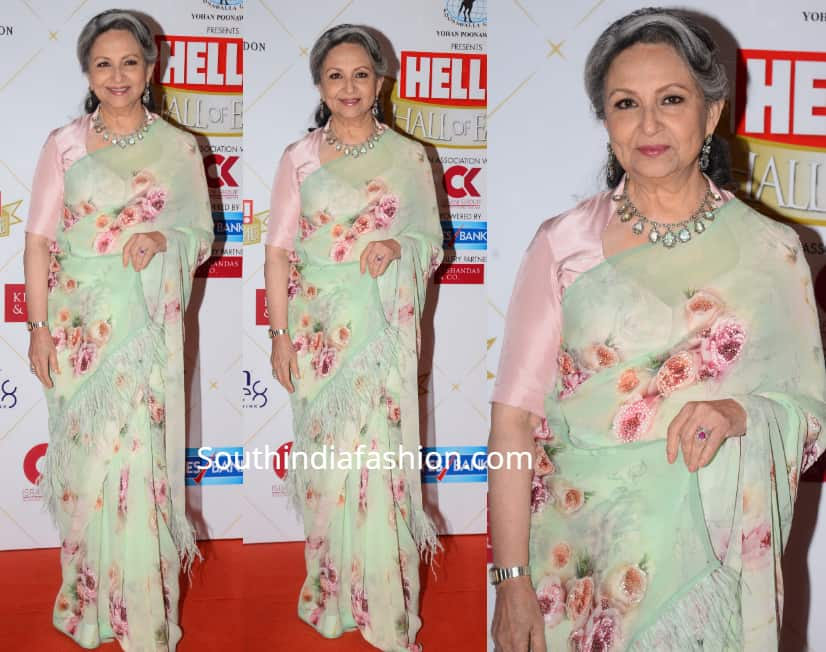 sharmila tagore in floral saree at hello hall of fame awards