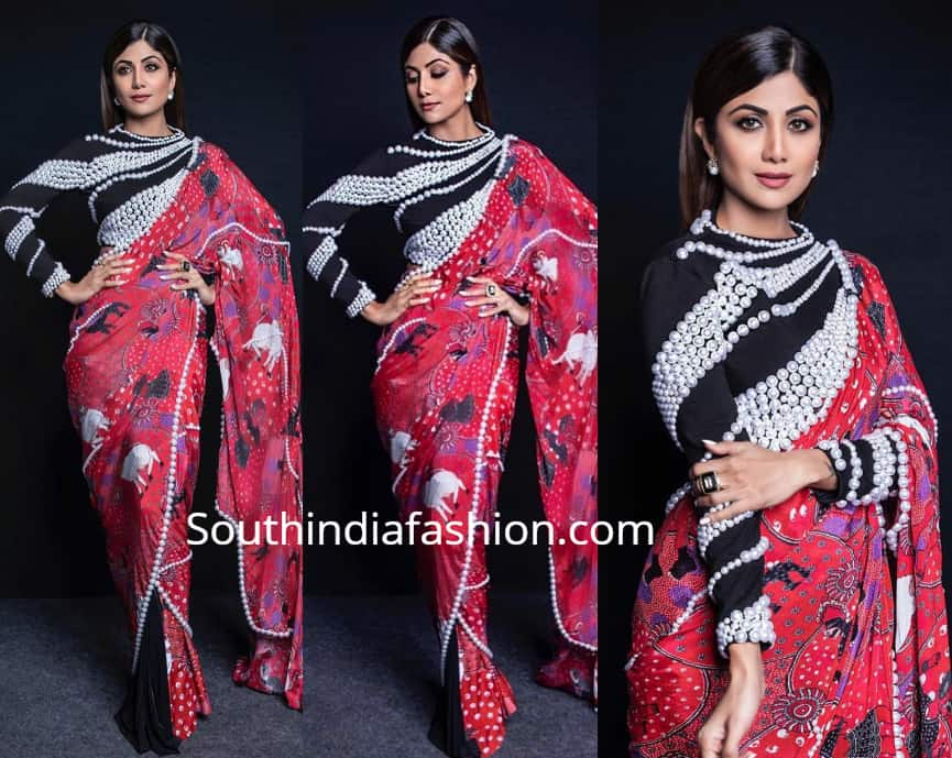 Shilpa Shetty S Saree Style South India Fashion Shilpa shetty kundra adorned this pretty colorful dhoti pants style saree from fashion designer sonam luthria for the shooting of dance reality show chapter 3. shilpa shetty s saree style south