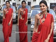 shilpa shetty in red saree for super dancer 3