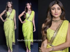 shilpa shetty yellow saree drape super dancer