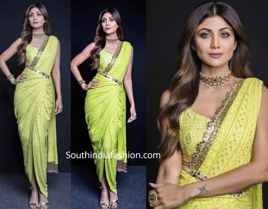 shilpa shetty yellow saree drape super dancer