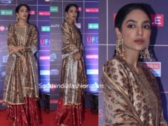 sobhita dhulipala in kurta lehenga at news 18 reel awards