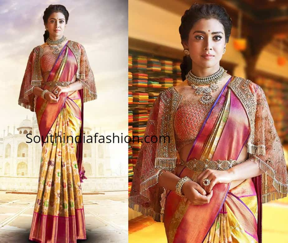 shriya saran in cape blouse with kanjeevaram saree