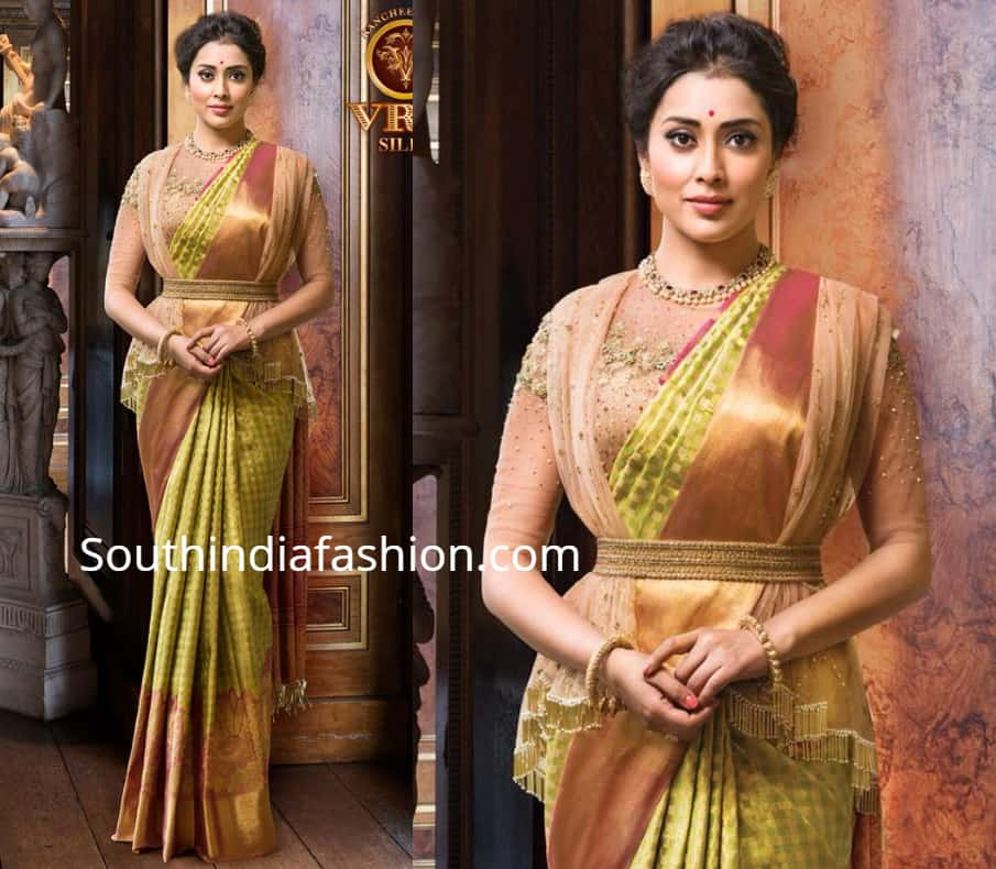 shriya saran in vrk silks kanjeevaram saree and designer blouse