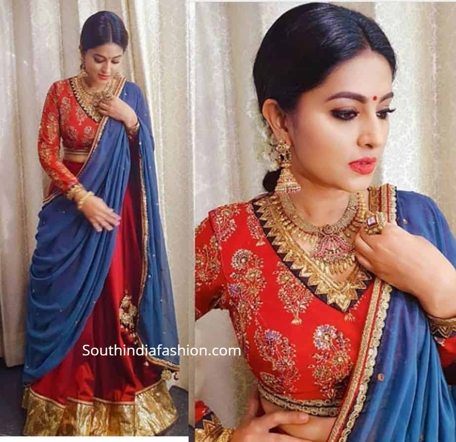 sneha prasanna blue red half saree