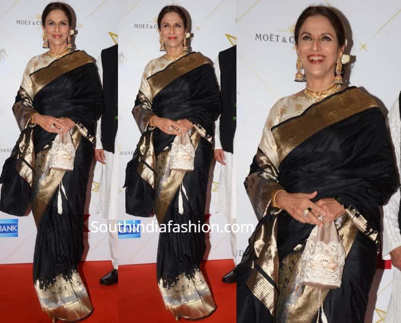 shobhaa de in black banarasi silk saree