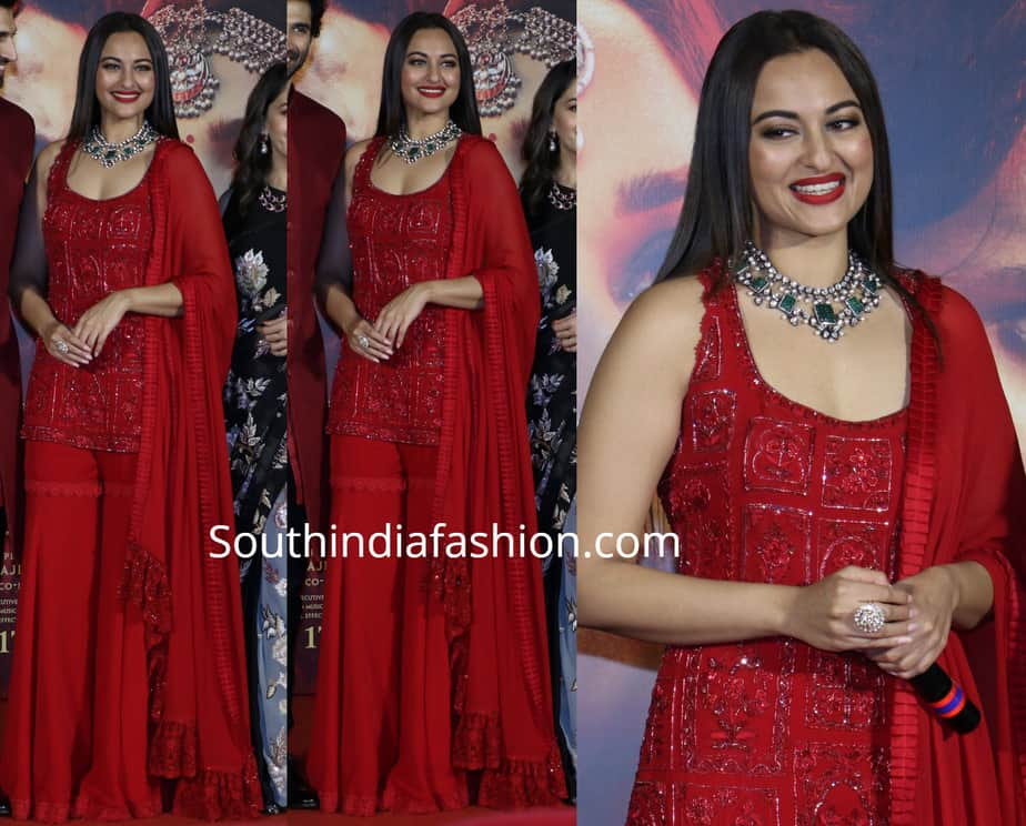 sonakshi sinha in red sharara suit at kalank trailer launch