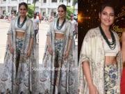 sonakshi sinha in anamika khanna dress for kalank promotions