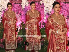 sonali bendre in red dress at akash ambani wedding
