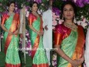 soundarya rajinikanth in green kanjivaram saree at akash ambani wedding