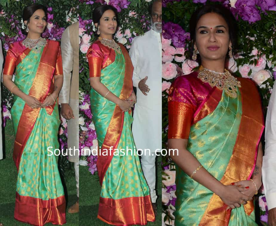 soundarya rajinikanth in green kanjivaram saree at akash ambani wedding
