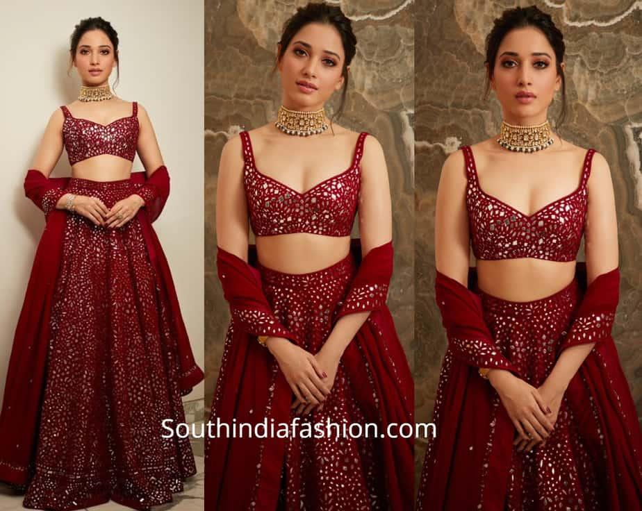 tamannaah in maroon mirror work lehenga at akash ambani wedding reception