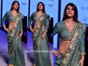 tanishaa mukerji in green saree at bombay times fashion week