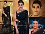 trisha krishnan in black sabyasachi saree at asia net awards 2019