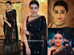trisha krishnan in black sabyasachi saree at asia net awards 2019