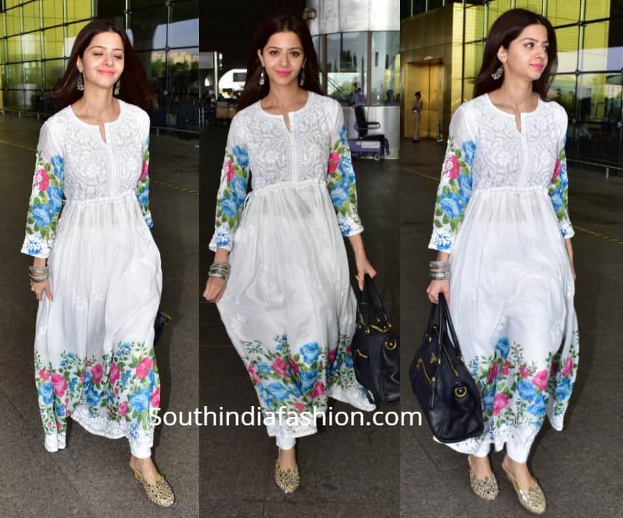 vedhika casual white kurta airport