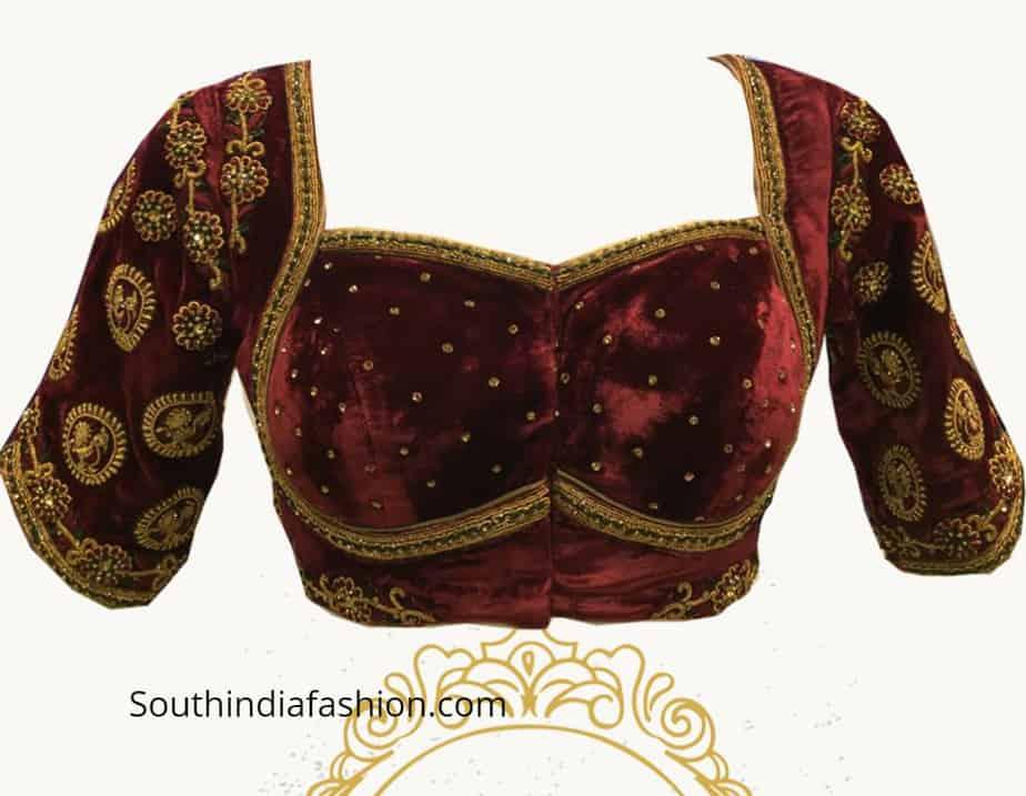 maggam work velvet blouse