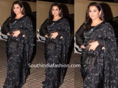 vidya balan black saree full sleeves blouse