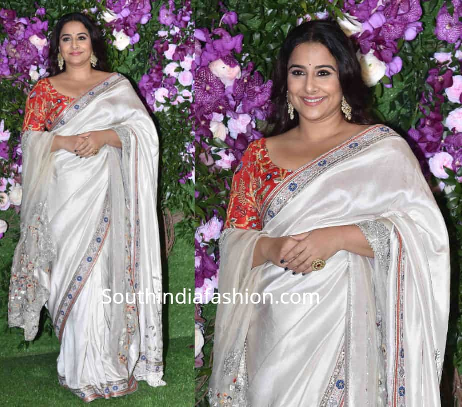 vidya balan in white anamika khanna saree at akash ambani wedding