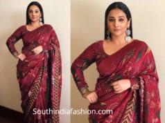 vidya balan in maroon printed saree