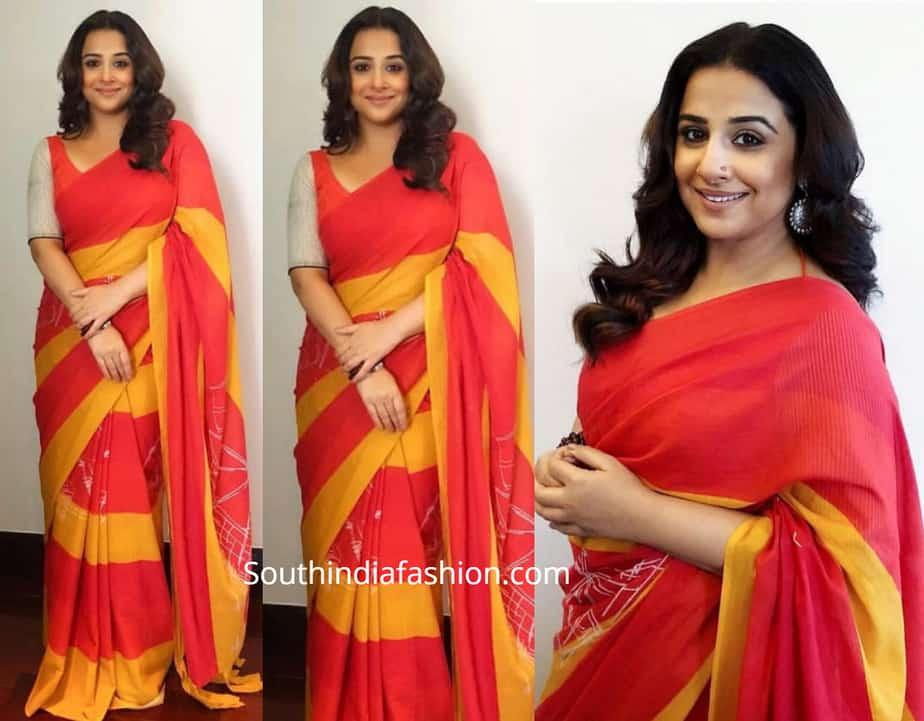 vidya balan red and yellow saree