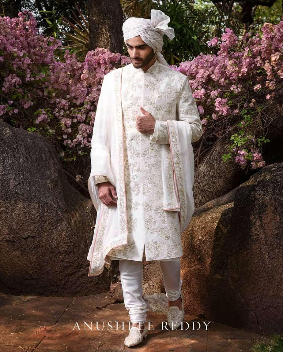 anushree reddy menswear ivory sherwan