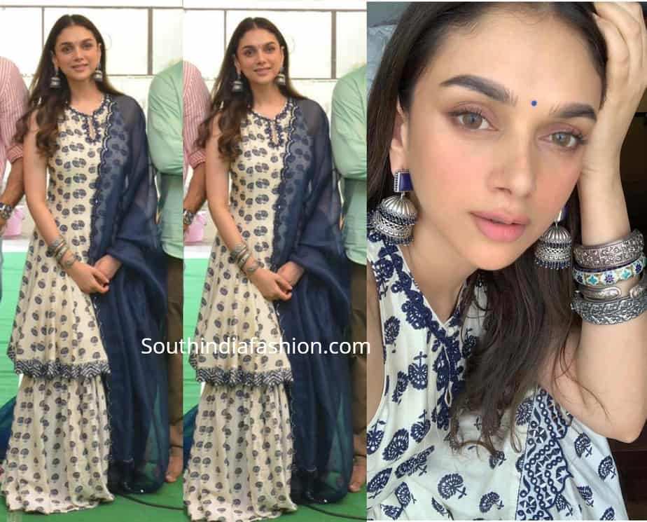 ADITI RAO HYDARI SHARARA SUIT AT NEW MOVIE LAUNCH
