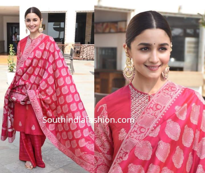 alia bhatt in pink salwar kameez at kalank promotions