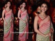 alia bhatt in banarasi saree at kalank promotions
