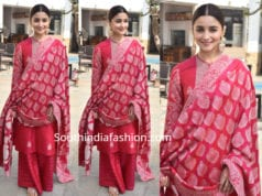 alia bhatt in pink salwar kameez at kalank promotions