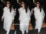 kareen akapoor at airport in white salwar kameez