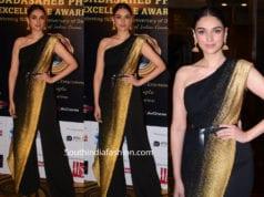 aditi rao hydari in black saree pants at dadasaheb phalke awards 2019
