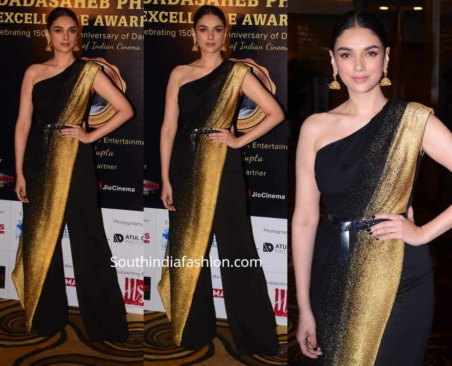 aditi rao hydari in black saree pants at dadasaheb phalke awards 2019