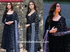 alia bhatt in black anarkali for kalank promotions kapil sharma show