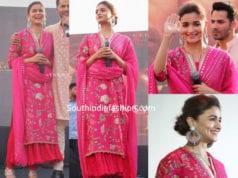 alia bhatt pink salwar kameez kalank promotions jaipur