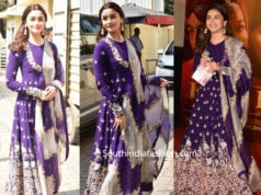alia bhatt in purple anarkali at kalank trailer launch