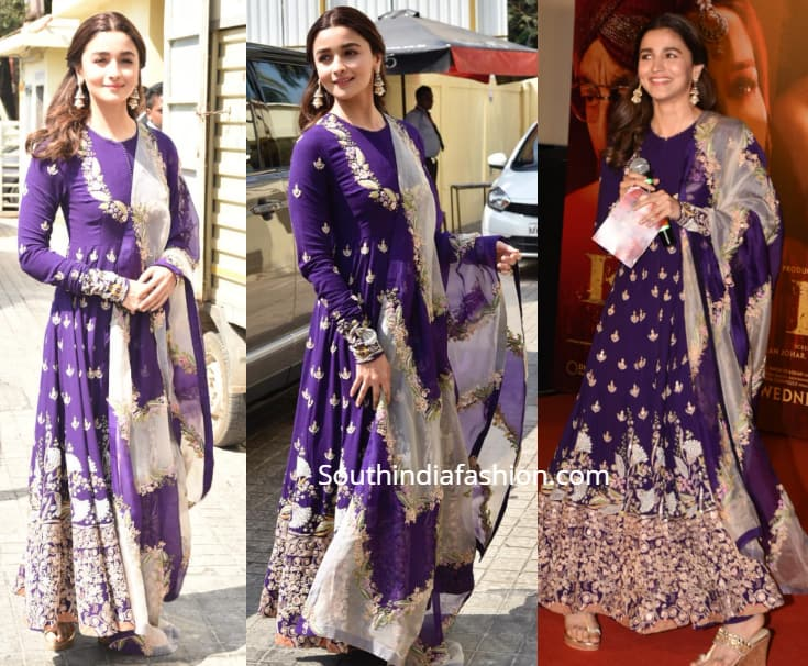 alia bhatt in purple anarkali at kalank trailer launch