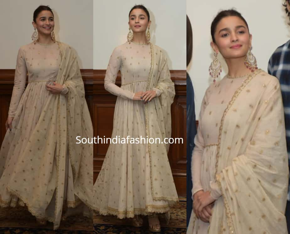 alia bhatt in white anarkali kalank promotions