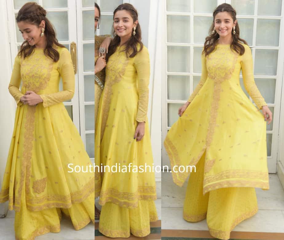 alia bhatt yellow kurta palazzo kalank promotions