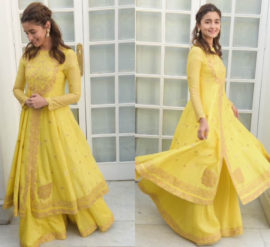 alia bhatt yellow anarkali kalank promotions