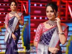 anchor anasuya purple kanjeevaram saree