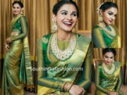 andrea jeremiah green silk saree